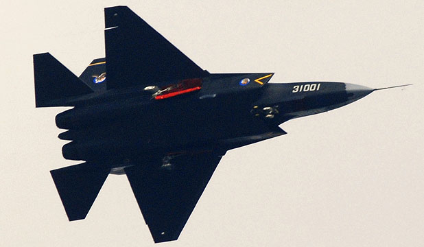 PUSHING AHEAD: A Chinese J-31 stealth fighter during a test flight.