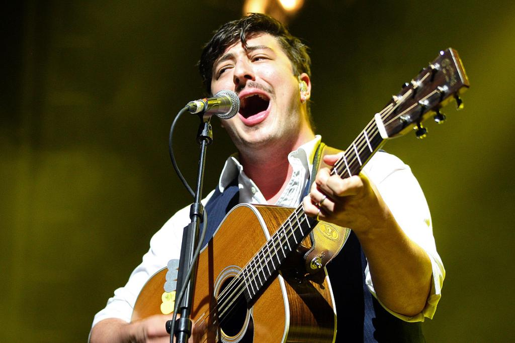 Lead singer Marcus Mumford, of Mumford & Sons, at Auckland's Vector Arena.