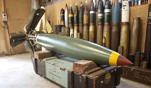 UP FOR AUCTION: Auckland-based munitions collector hopes to sell an original MK 84 500lb (227kg) bomb and a New Zealand New Seacat missile.