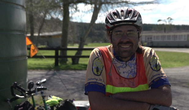 Good attitude: Damian Day has not let any of the challenges life has thrown him prevent him from riding his custom-designed bike all over New Zealand.