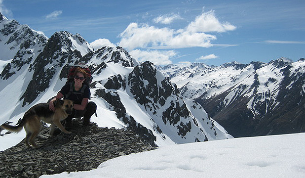 SOUTHERN GLORY: Bonnie Scarth and friend atop Mt Barth in the Southern Alps.