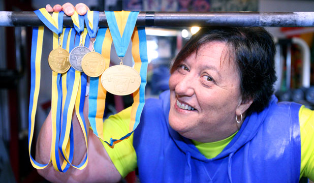Invercargill Powerlifter Sonia Manaena with her collection of World Cup medals.