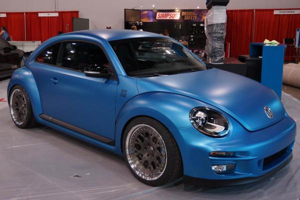 The VWvortex Volkswagen Super Beetle at the Sema Show in Las Vegas.