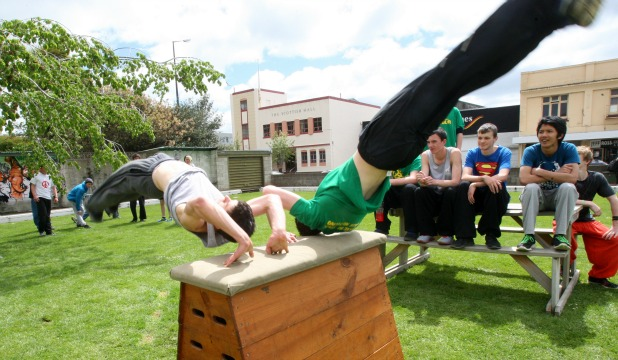 Ben Dobbie, left, and Andrew Forrest at the Southland Parkour Association open day on Sunday.
