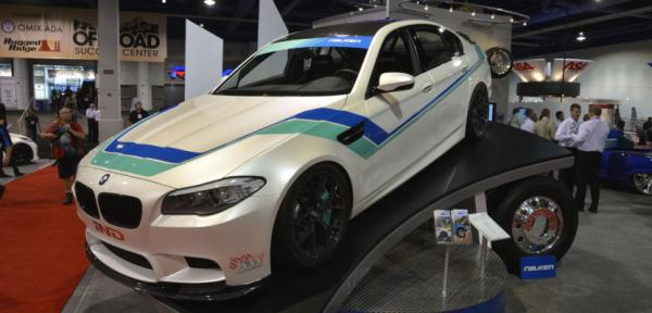 A BMW M5 at the Sema Show in Las Vegas.