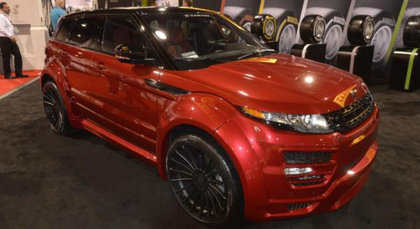 A Land Rover Evoque on display at the Sema Show in Las Vegas.