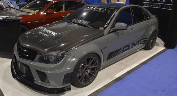 A Mercedes-Benz C63 AMG on display at the Sema Show in Las Vegas.