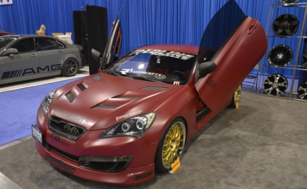 A Hyundai Genesis Coupe on display at the Sema Show in Las Vegas.
