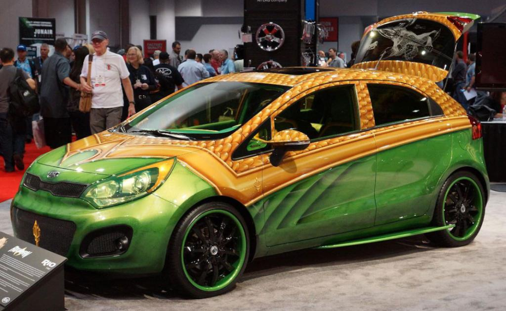 "The Kia ""Aquaman"" Rio on display at the Sema Show in Las Vegas."