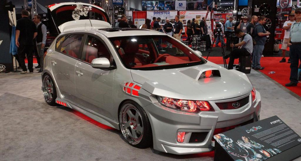 "The Kia ""Cyborg"" Forte on display at the Sema Show in Las Vegas."