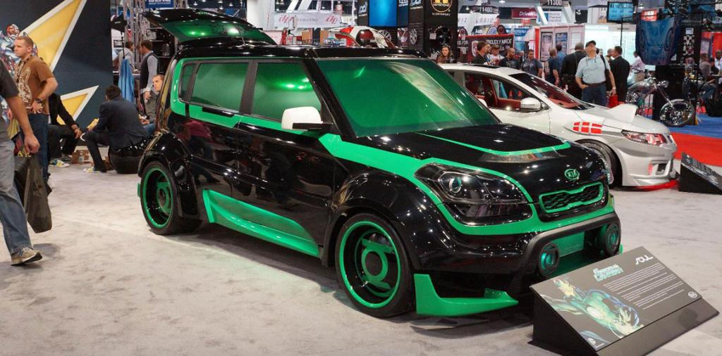 "The Kia ""Green Lantern"" Soul on display at the Sema Show in Las Vegas."