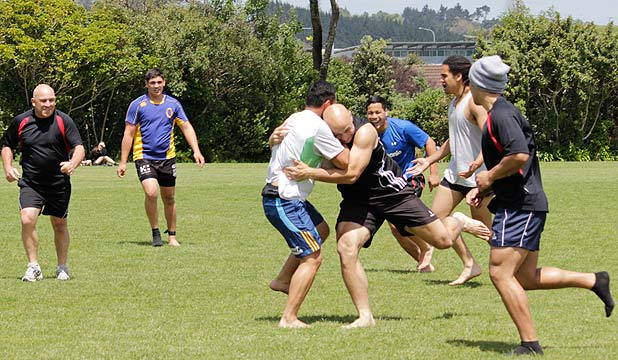 BRACE YOURSELF: DJ Forbes tackles a Howick College student.
