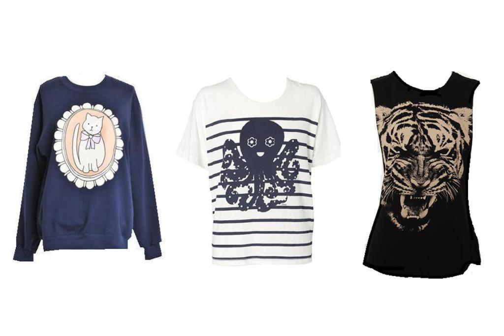 From left: Twenty-seven Names top, $260; Karen Walker t-shirt, $139; and a slightly more ferocious style from Glassons, $19.99.