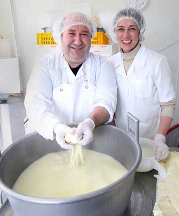 HANDS-ON: Massimo Lubisco and Marina Marchenko love the challenge of creating quality Italian cheeses.