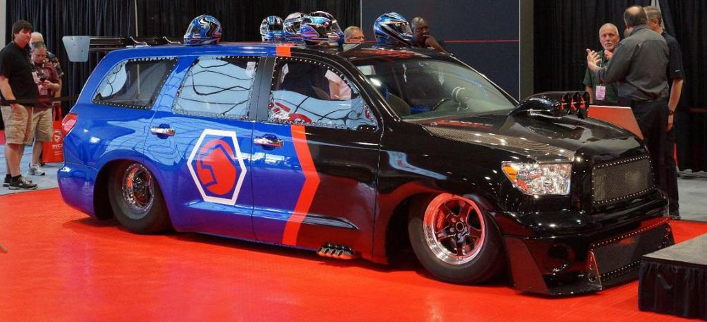 """The Toyota Sequoia """"DragQuoia"""" at the 2012 Sema Show in Las Vegas."""