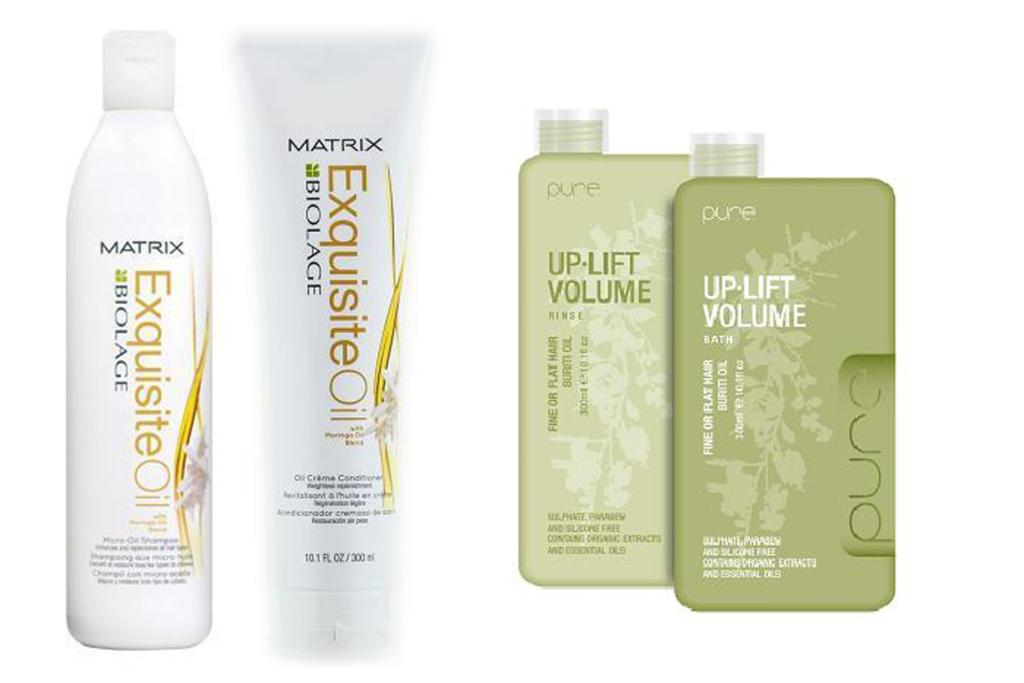 Matrix Biolage Equisite Oil Shampoo $30, and Conditioner $26.50; Pure Up-Lift Volume Shampoo $29.50, and Conditioner $29.50.