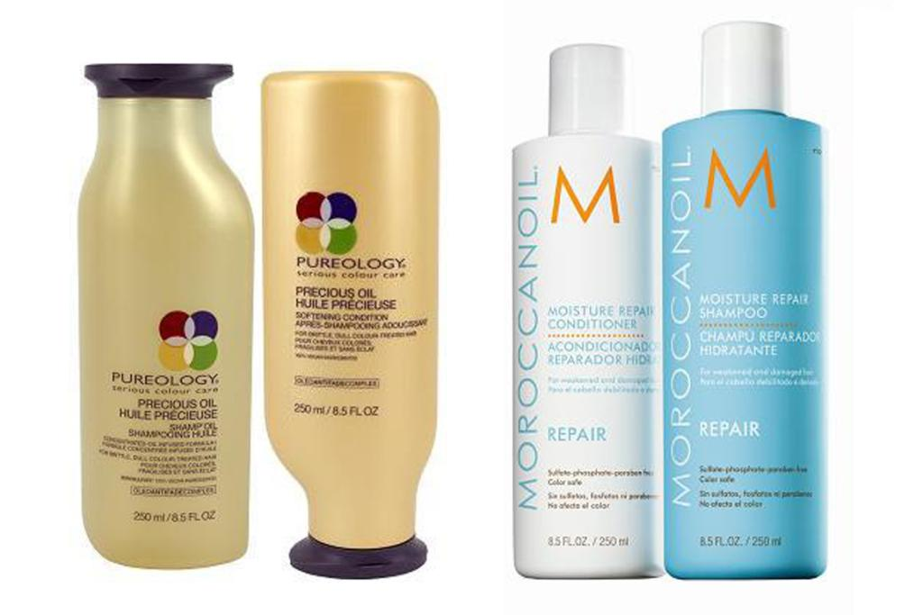 Pureology Precious Oil Shampoo $36, and Conditioner $42; Moroccanoil Moisture Repair Shampoo, $45 and Conditioner, $45.