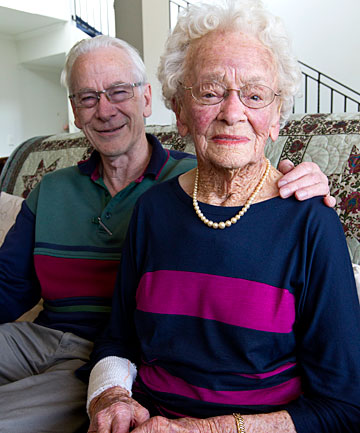 Asta McCracken, 98, unharmed and resting with her son, Clive Parsons