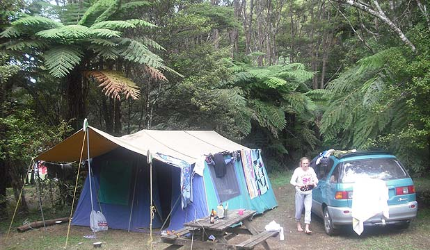KIWI FAVOURITE: Camping is a sentimental habit of a New Zealander's life as Andrea Kelly of Whenuapai knows very well with this family photo.