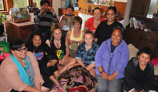 Old school: Tamara Jane Rikiti, back left, with students during a two-day weaving workshop last week.