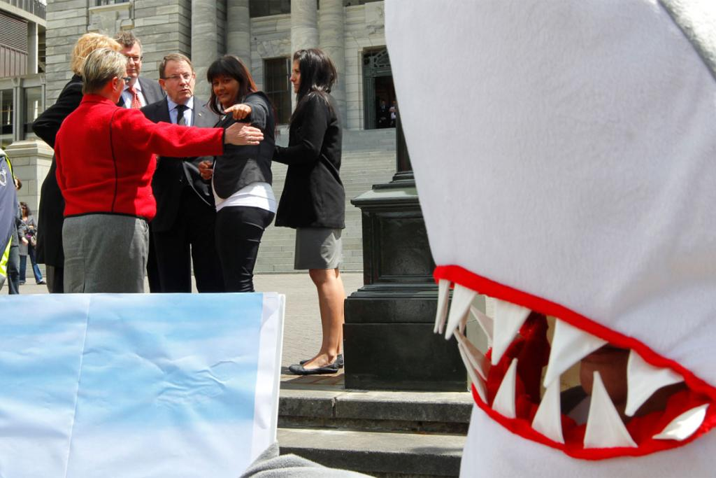 ACT leader John Banks at a state housing protest at parliament, which coincided with an anti-shark finning protest.