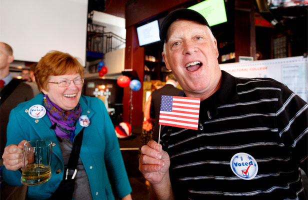 GOOD TURNOUT: American tourists Bill Anderson and his partner Kathy Hudden at the USA election event at the Chicago bar.
