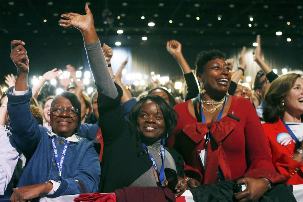 Supporters of US President Barack Obama cheer during his election night rally in Chicago.