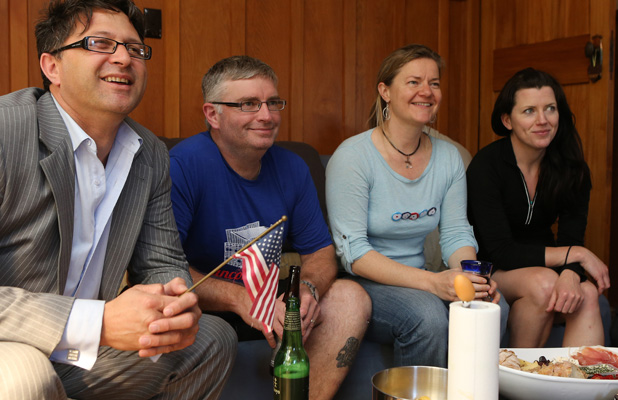 WATCHING: Nick Henare, Michael O'Dea, Kaila Colbin and Kimberly Gilmour are all Obama supporters.