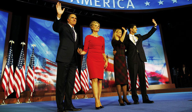 BATTLE ENDS: US Republican presidential nominee Mitt Romney waves with his wife Ann alongside Republican vice presidential nominee Paul Ryan, right, and his wife Janna after Romney delivered his concession speech.