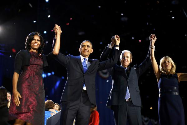 US President Barack Obama and first lady Michelle Obama celebrate with Vice President Joe Biden and his wife Jill after his election night victory speech in Chicago.