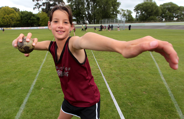 Grip it and rip it: Young Marlborough athlete Jade Otway broke a 31-year-old Marlborough Athletics Club record for the 9-year-old girls' shot put at a club night recently.