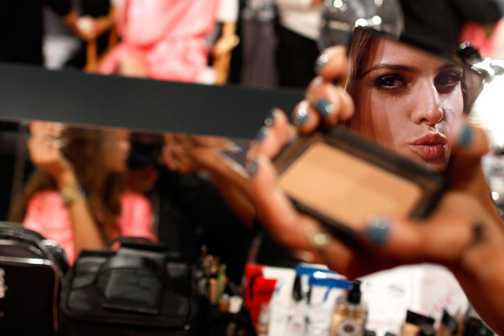 Getting ready backstage before the Victoria's Secret Fashion Show in New York.