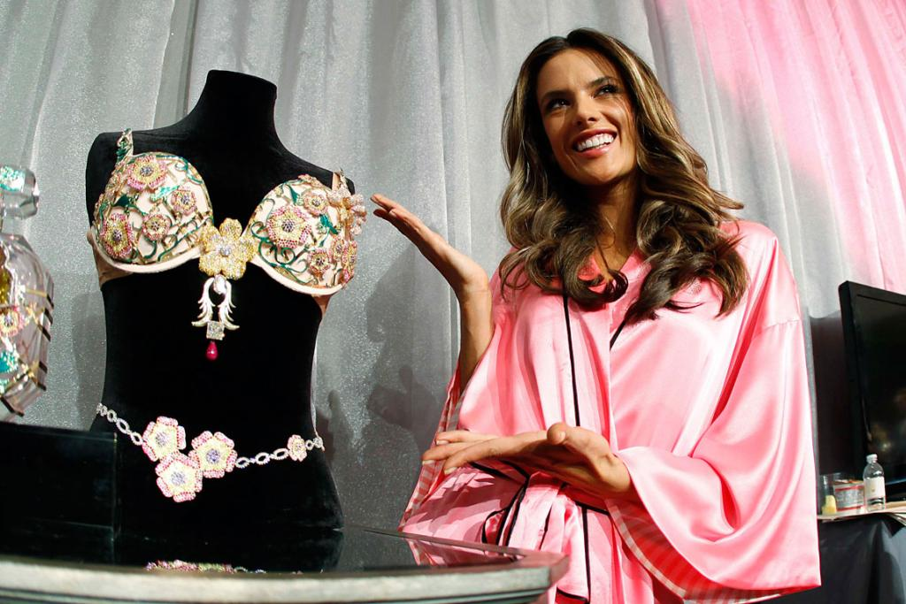Supermodel Alessandra Ambrosio poses with her co-star, the Fantasy Bra.