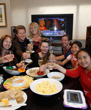 TOAST: Members of a Nelson family celebrate the re-election of Barack Obama