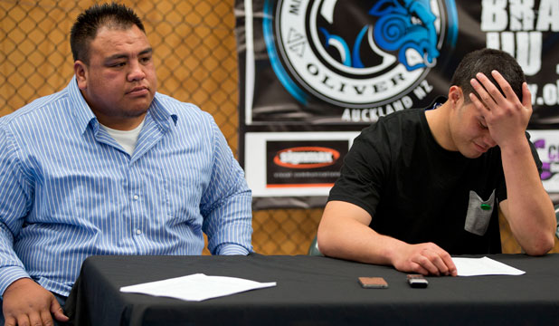 Boxer Terry Tuteru, left, who weighed in at 167kg will be fighting up and coming pro Joseph Parker, right, in the co-main event of the Rising Stars-Fight Night.