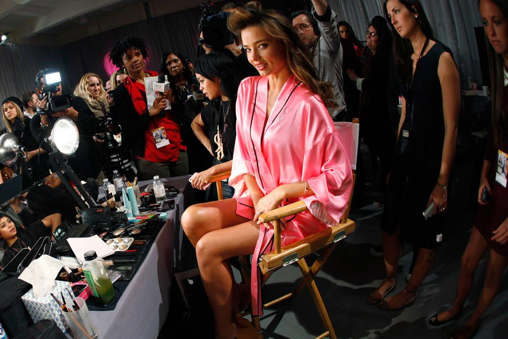 Miranda Kerr, who apparently can never take a bad photo, gets ready for the Victoria's Secret catwalk.