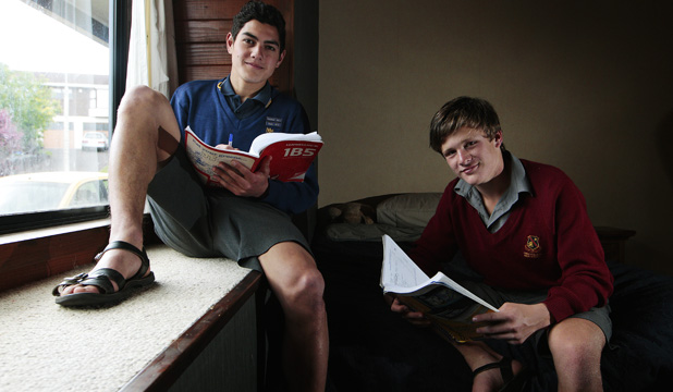 HITTING THE BOOKS: St John's College year 12 student Jonathan Viviani, left, and year 10 student Will Captein are about to undertake their NCEA exams.