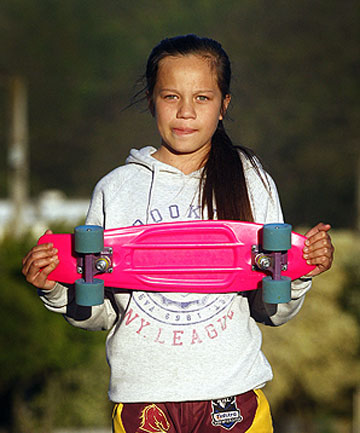 GRABBED: Tamera Walker, 12, who remembered the ''stranger danger'' warning and fought off an attacker with her skateboard.