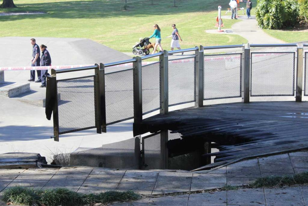 SKATEPARK FIRE: The wooden platform above the skatepark in Marlborough Park, Glenfield was set alight in what fire investigators believe to be an arson attack.