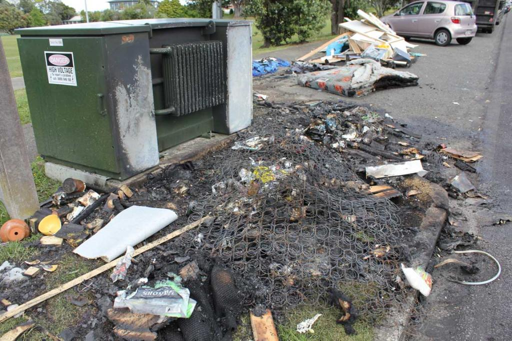 TRANSFORMER FIRE: A transformer on Pupuke Rd, Takapuna caught alight in what fire investigators to believe was an arson attack.