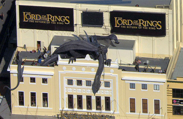 THEATRE-TOPPER: The Nazgul sculpture installed for the premiere of Lord of the Rings.