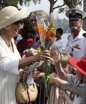 TOUR TIME: Camilla, Duchess of Cornwall, greets Defence Force personnel and their families in Sydney.