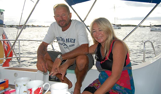 STRICKEN YACHT: Steve Jones and Tania Davies.