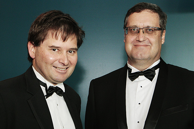 WINNERS: Westpac Waikato Business Excellence supreme award winners Tony Egan, left, and James Egan from Greenlea Premier Meats.