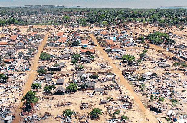 An aerial view of a former battle front in the northeast of Sri Lanka from the helicopter carrying the then UN Secretary- General Ban Ki-moon during his visit in April 2009.