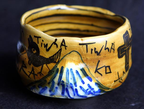 Aaron Scythe is using Japanese and Maori motifs in his pottery.