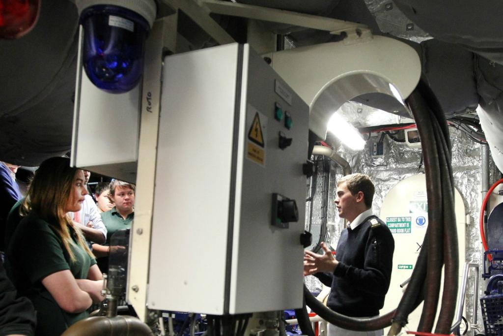 Students from Northern Southland College and Menzies College were given a tour of the HMNZS Rotoiti while it was docked in Bluff.