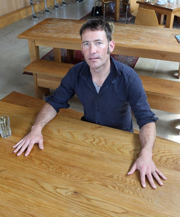 KNOW WHEN TO HOLD 'EM: Zak Cassels of The Brewery with a table like the one that was stolen.