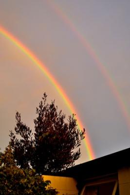 Sunset, rainbow in Christchurch, 10 November 2012
