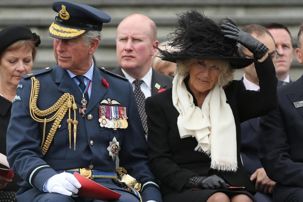 Prince Charles and his wife, Camilla, Duchess of Cornwall, brave the breeze during the Armistice Day commemorations outside the Auckland War Memorial Museum.